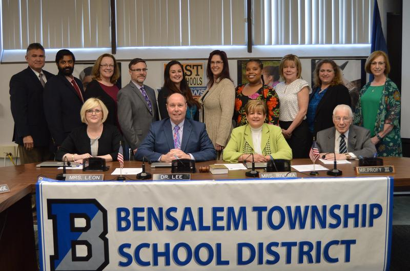 5 men and 9 women. members of the Bensalem Board of School Directors