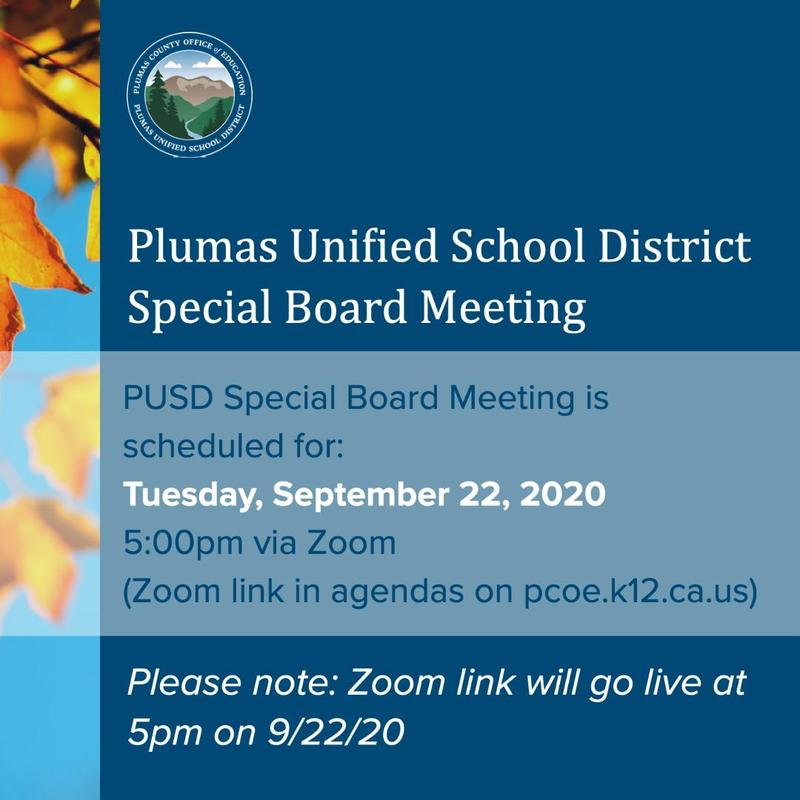 PUSD Special Board Meeting Agenda 9/22/2020