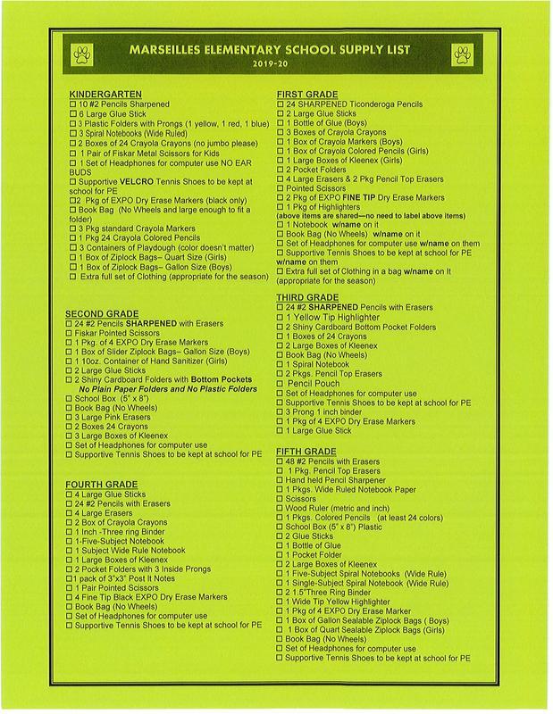 2019-2020 School Supply List Featured Photo