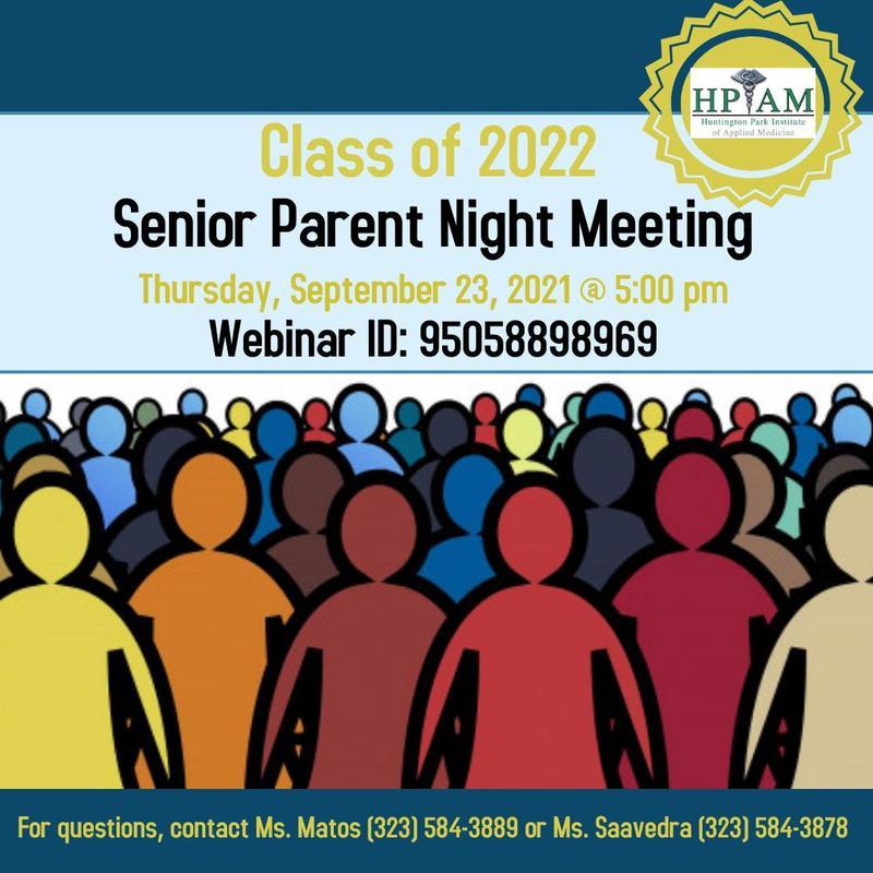 Class of 2022 Senior Parent Night Meeting Thumbnail Image