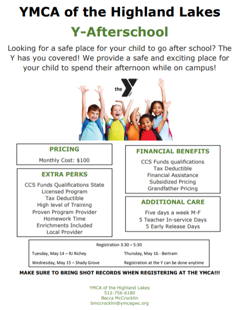 2019 - 2020 Afterschool Program: Registration at the Y can be done anytime! Thumbnail Image
