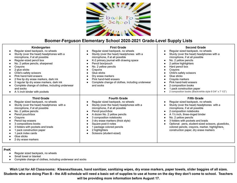 Boomer-Ferguson Elementary School Supply lists 20-21 Thumbnail Image