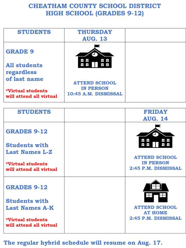 High school (hybrid model for Aug. 13-14)