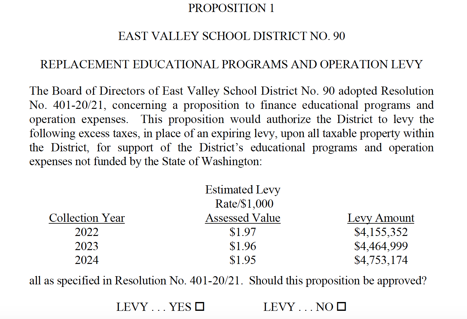Screenshot of proposition 1 in English