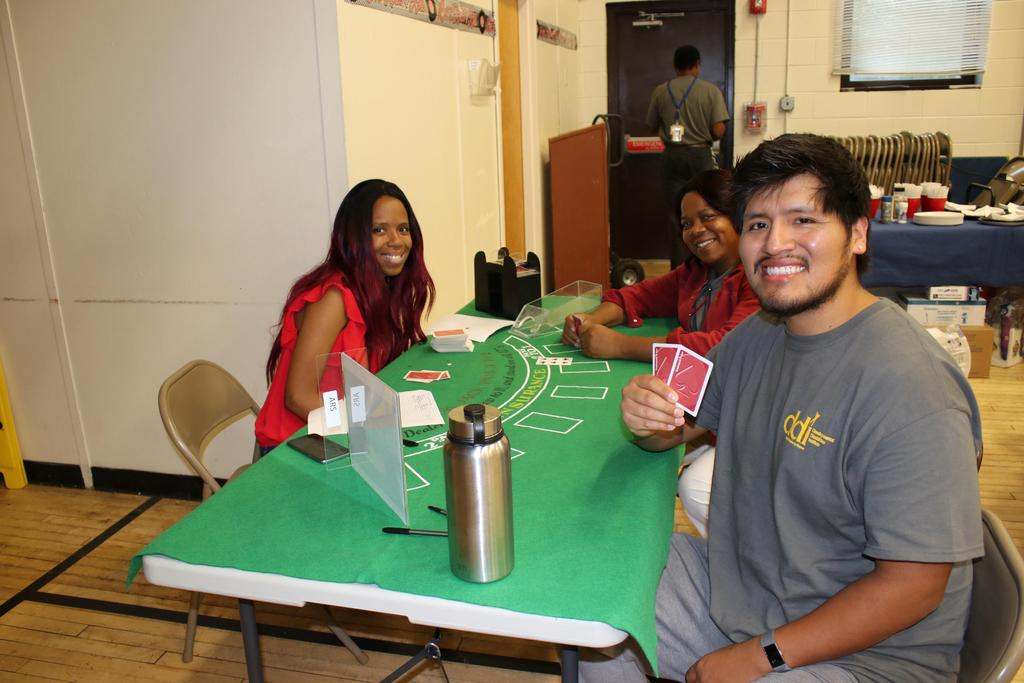 Staff playing card games