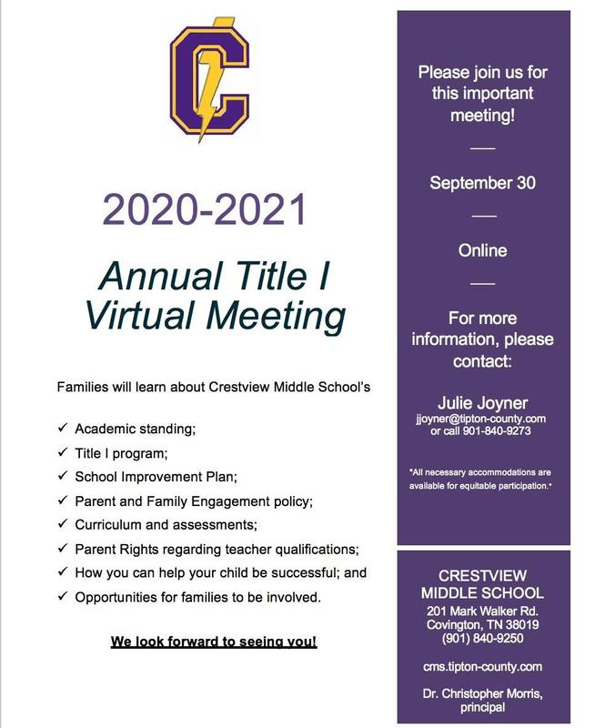 Welcome to the Annual Title One Virtual meeting for September 30th, 2020