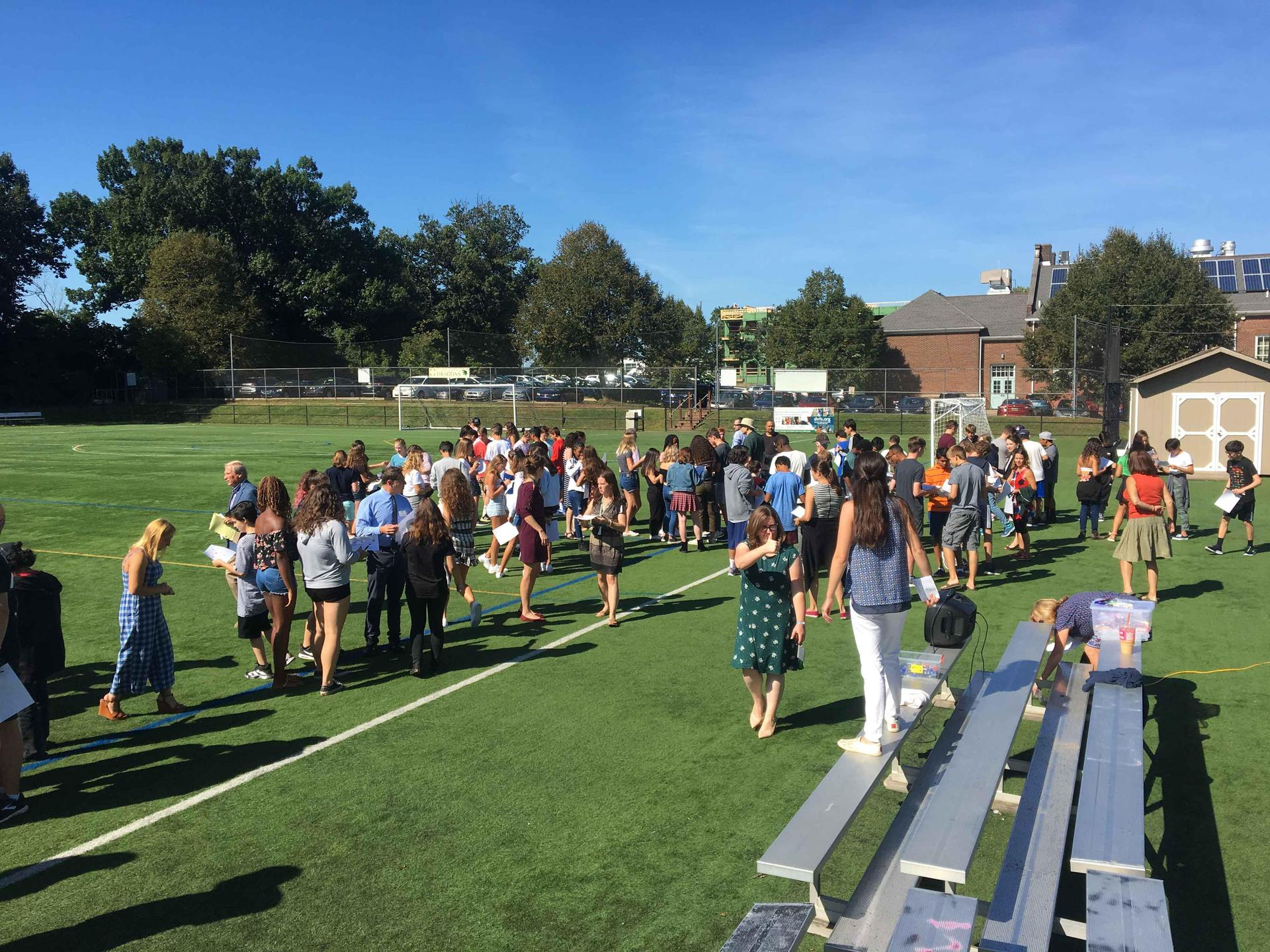 Team building on the turf field
