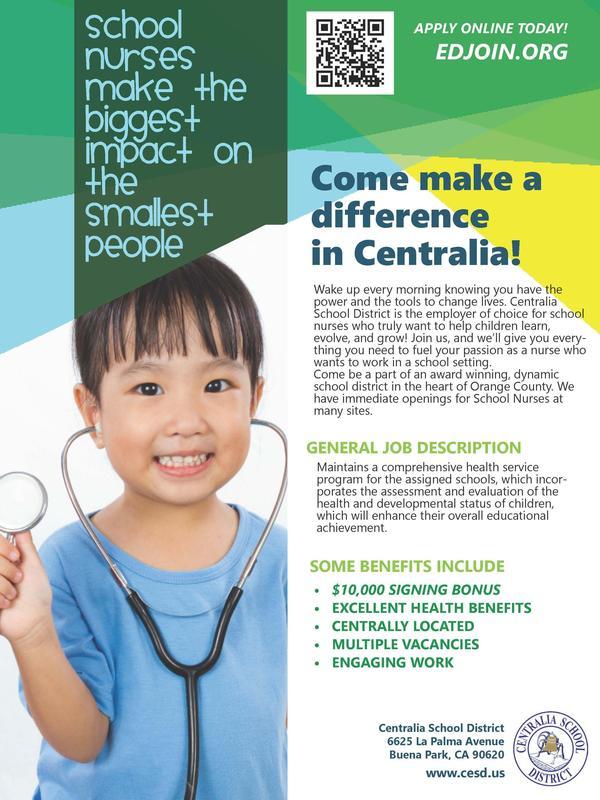 Flyer advertising hiring for nurses in Centralia