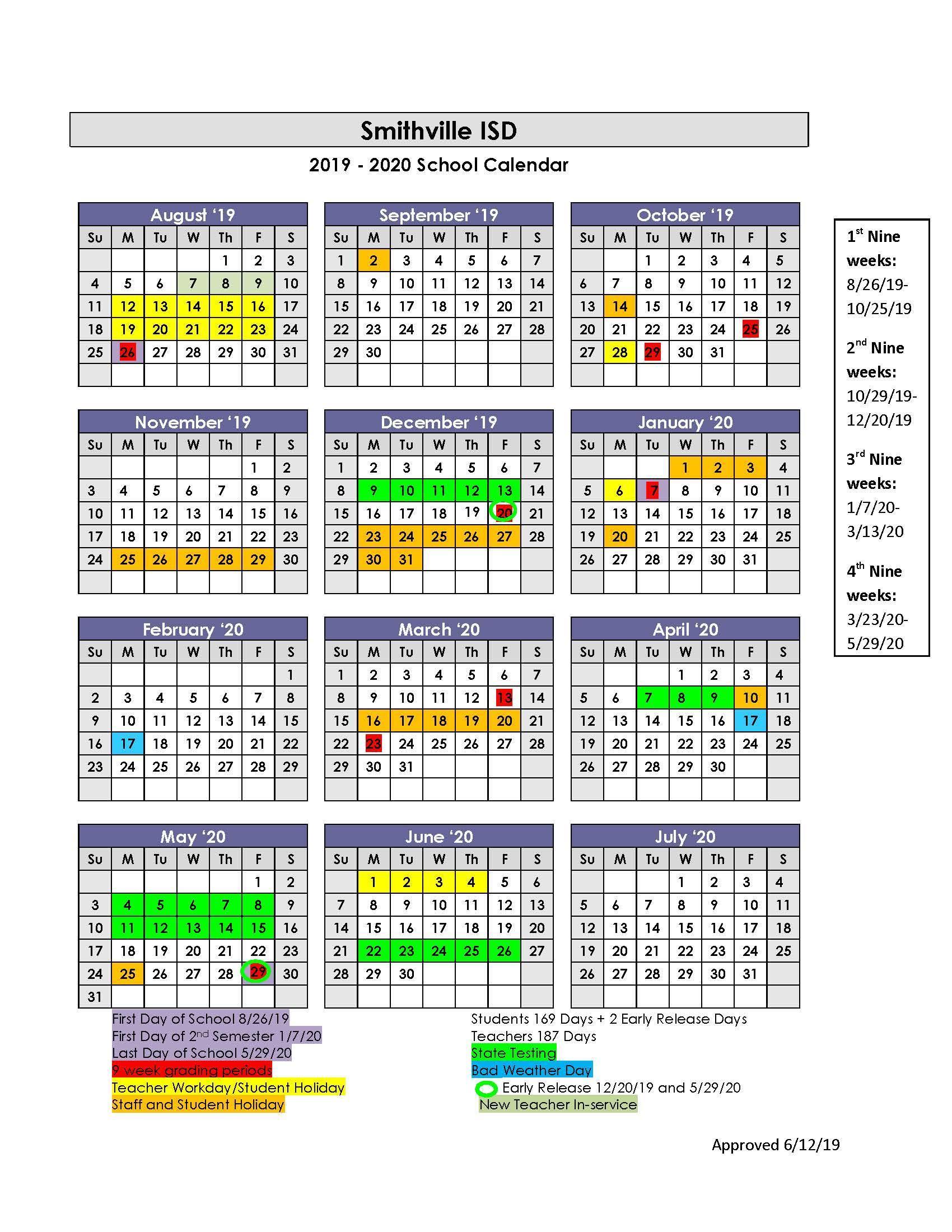 Lisd Calendar 2020.Sisd Academic Calendar School Board Smithville Independent