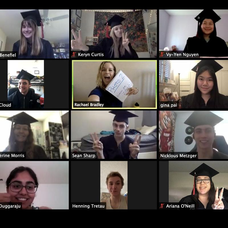 Screenshot of graduating 2020 seniors in their Photo 2 zoom class