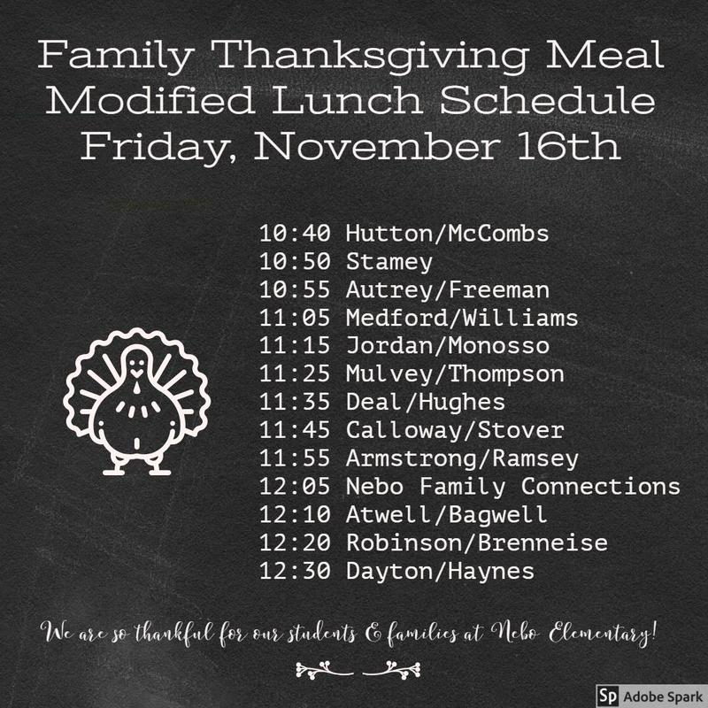 chalkboard with modified lunch schedule for Thanksgiving family meal