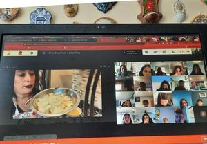 Westfield High School Spanish Club advisor and teacher Rose Calimano teaches club members how to cook a tortilla española or Spanish omelet during a virtual meeting.