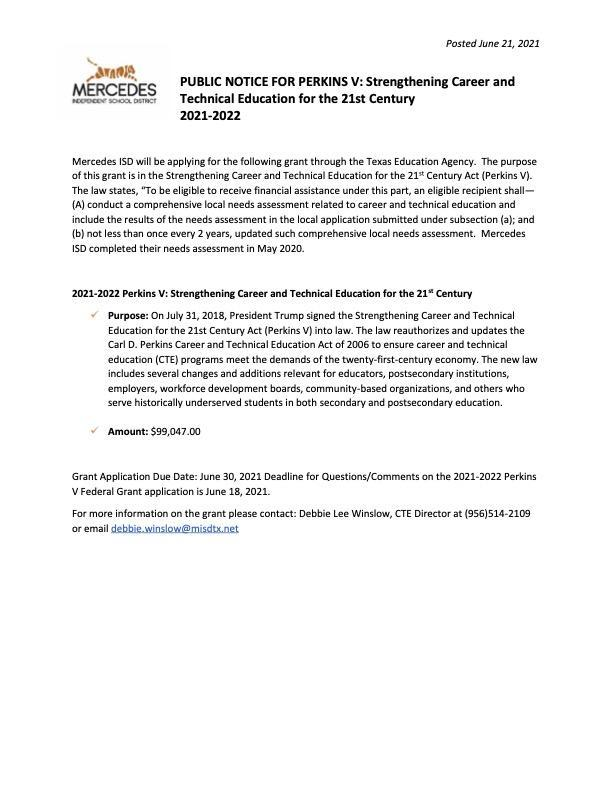 PUBLIC NOTICE FOR PERKINS V: Strengthening Career and Technical Education for the 21st Century 2021-2022 Featured Photo