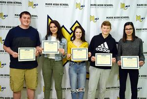 Mars Area High School seniors Paul Rude, Talia Bartley, Melissa Heintzinger and Ryan Kaniuff took second place and junior Amanda Scurci took first place in the inaugural West View Water Authority High School Video Contest.