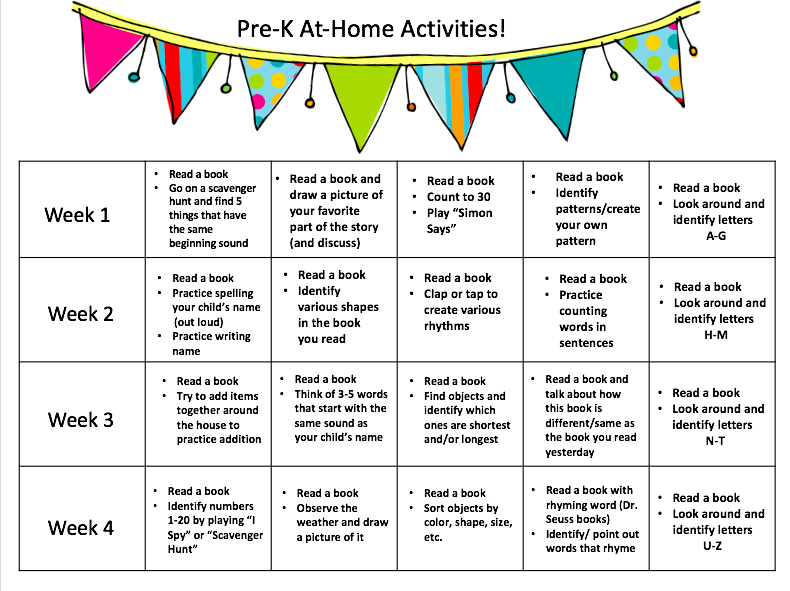 Pre-K at home activities