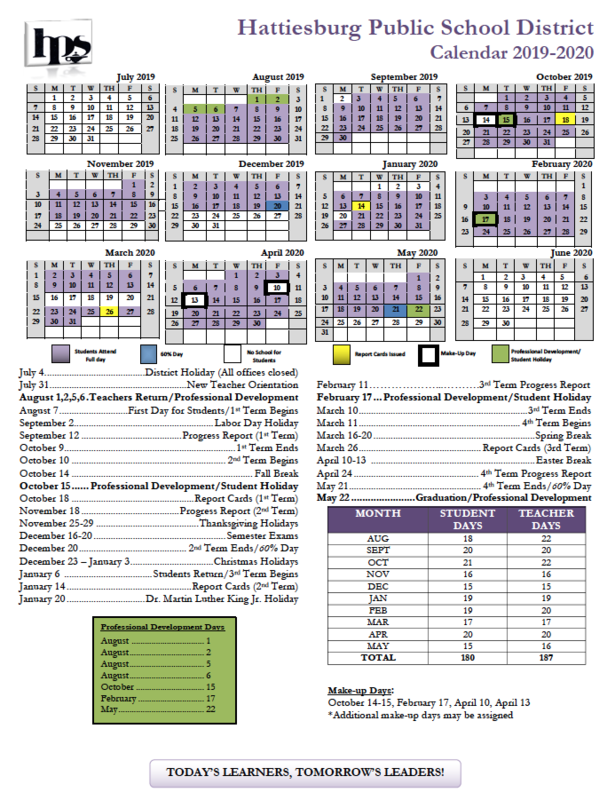 Approved Calendar for 2019-2020 School Year Featured Photo