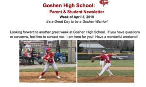 Goshen High School newsletter for the week of 4-8-19!