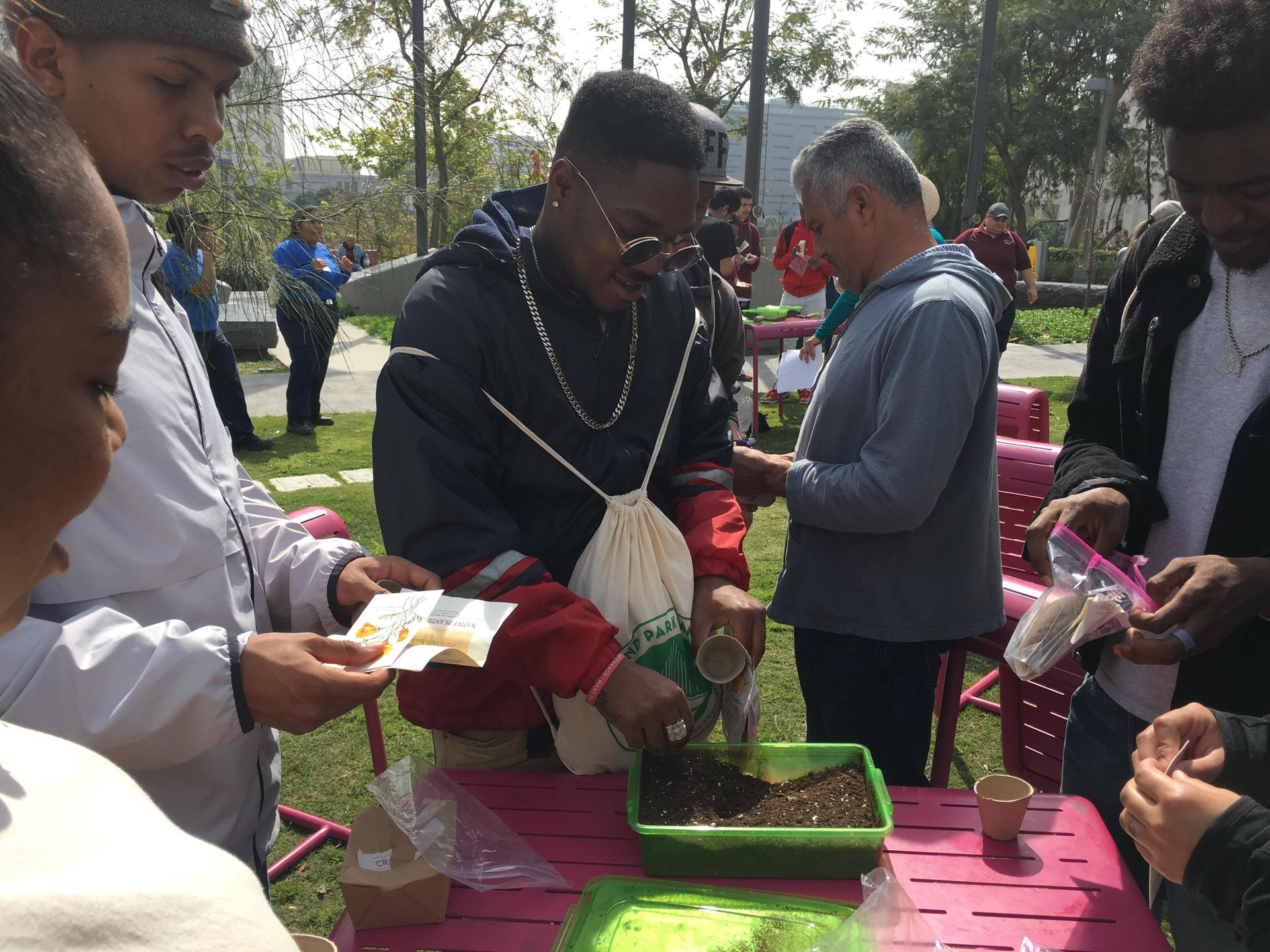 Palmdale students do an activity at Grand Park