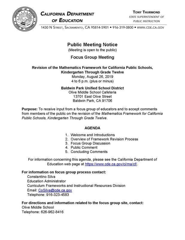 Parents and members of the BPUSD community are invited to attend a focus group meeting at 4 p.m. on Monday, Aug. 26 to discuss revisions to the Mathematics Framework for K-12 schools.