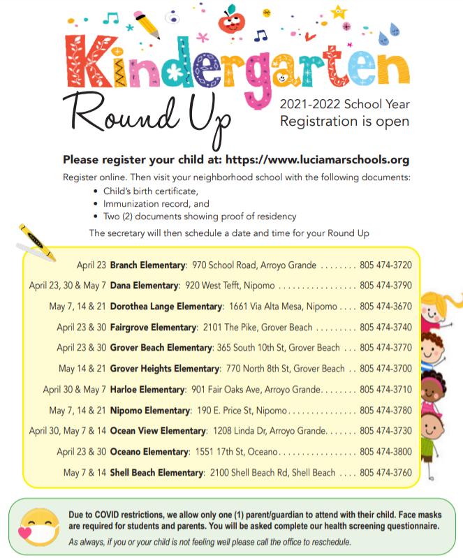 Kindergarten Round Up flyer with dates for each school