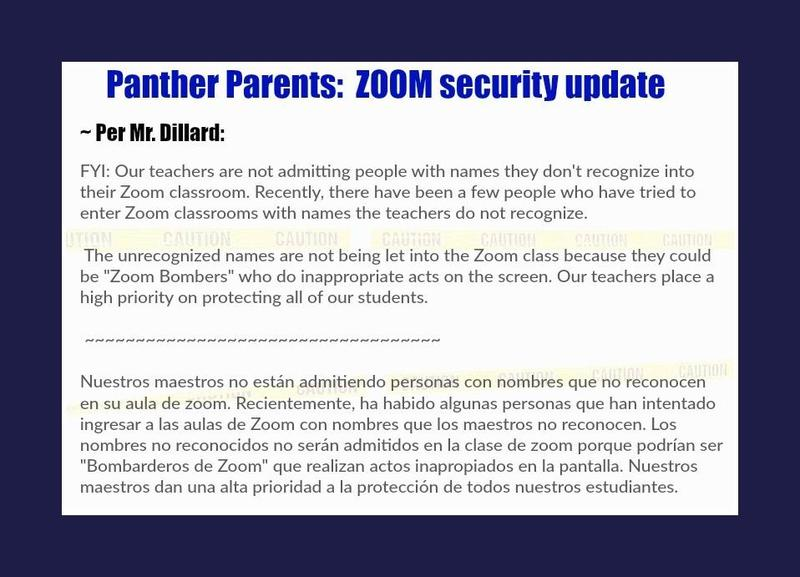 Msg from our principal: Zoom Security measures ~ Featured Photo