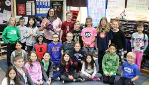 Photo of Philhower Award winner Jefferson 4th grade teacher Anna Carissimo with her class.