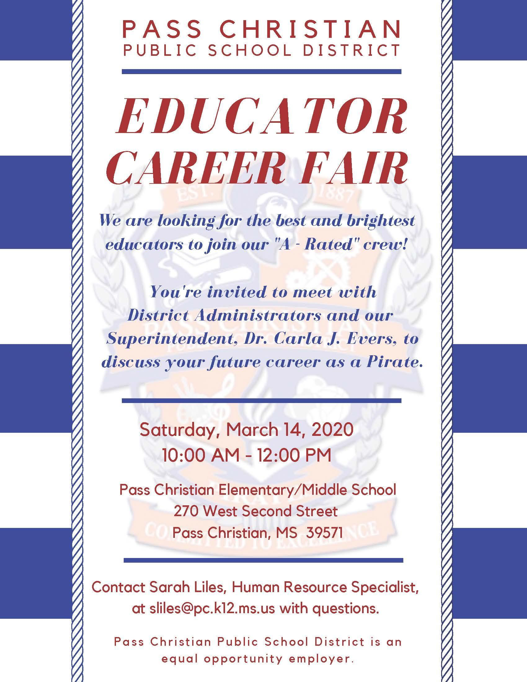 Educator Career Fair Invitation for 03/14/2020 at 10:00 am.