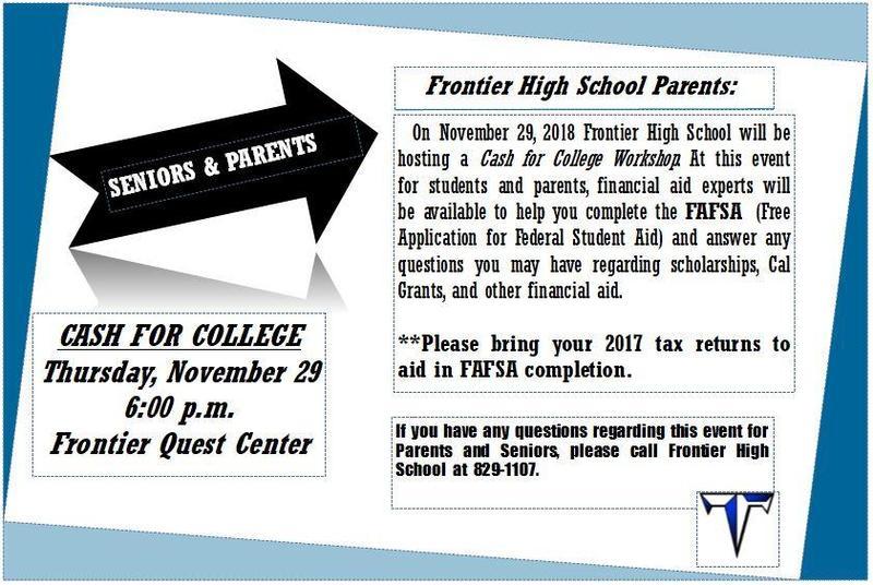 Seniors & Parents: Cash For College Workshop 11/29 Thumbnail Image