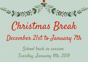 Christmas Break Dates Graphic