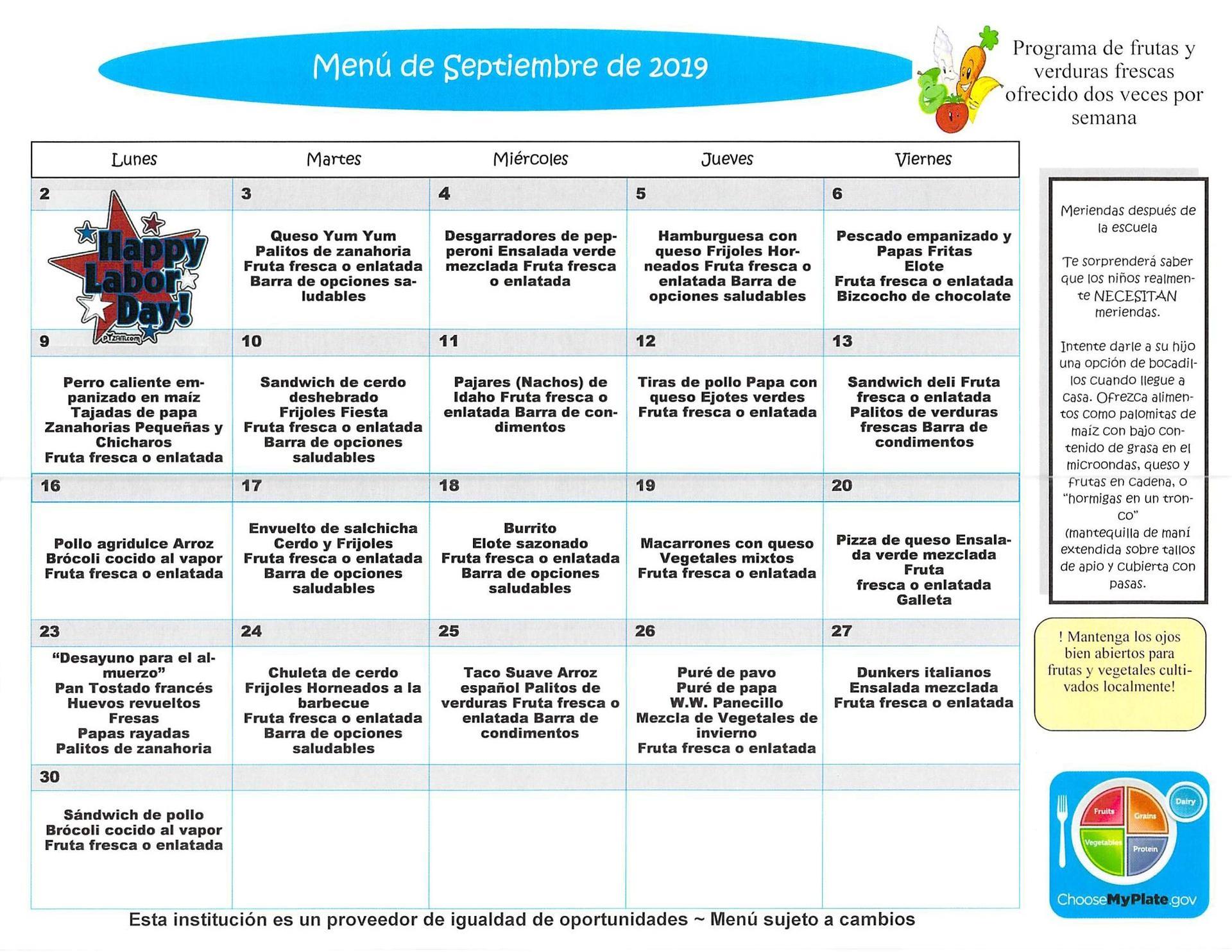 September 2019 Elementary Lunch Menu Spanish