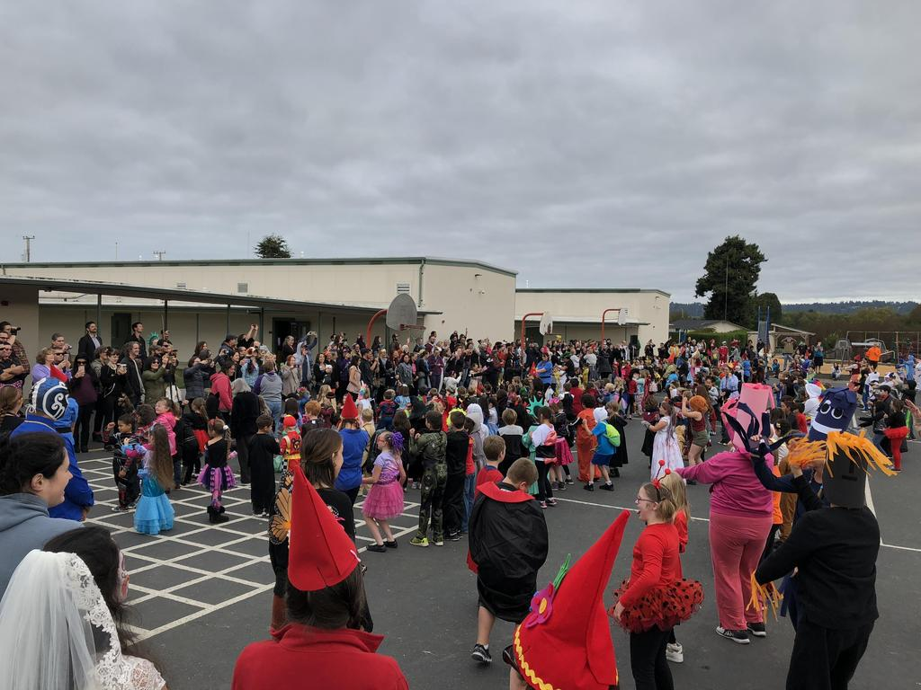Whole school dancing Monster Mash