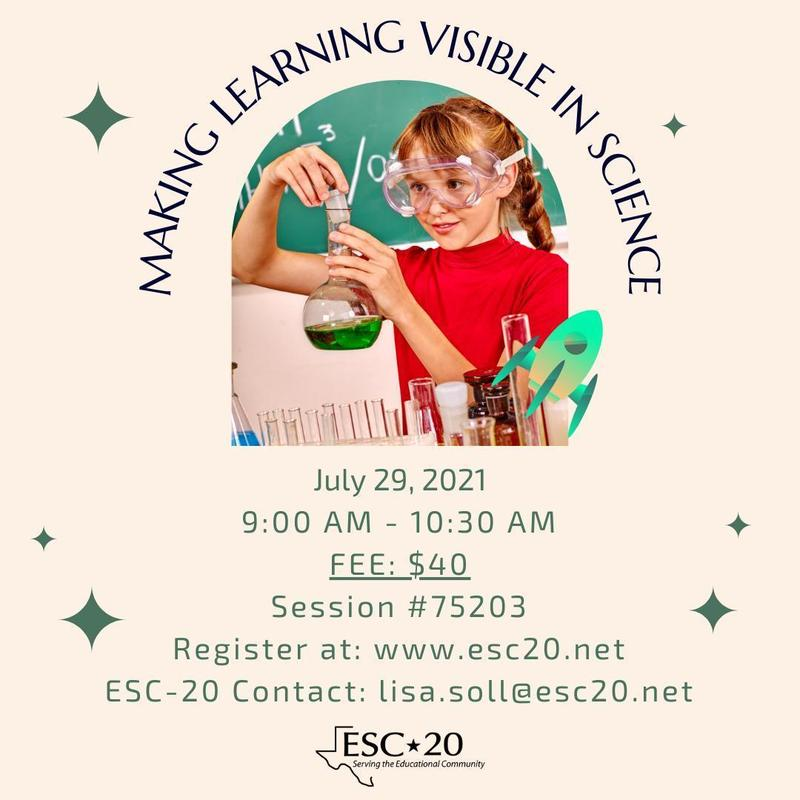 Making Learning Visible in Science, July 29, 2021, 9:00 am - 10:30 am, Register Now!
