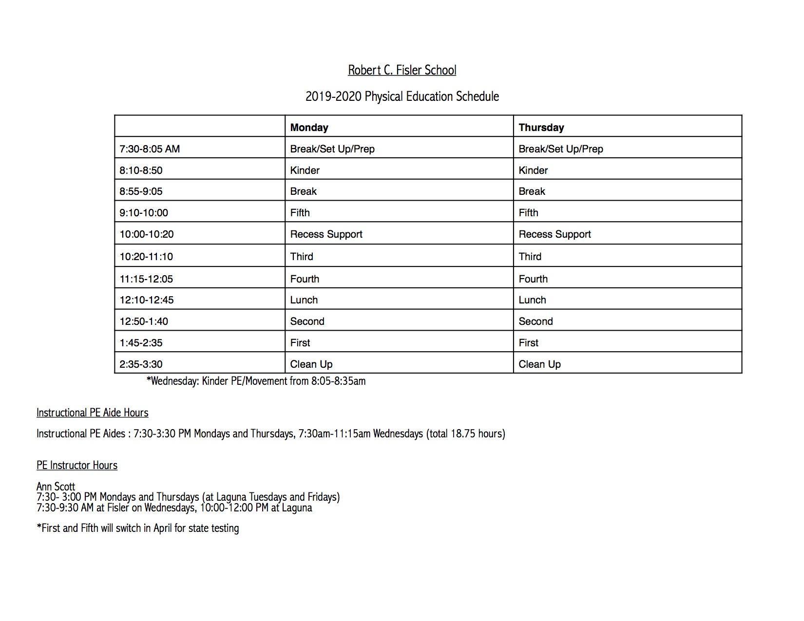 K-5 PE Schedule