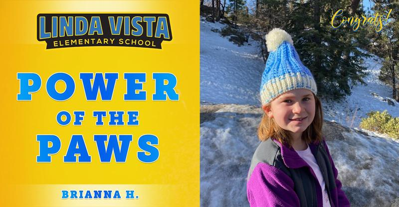 Congratulations to our Power of the PAWS student, Brianna H.!