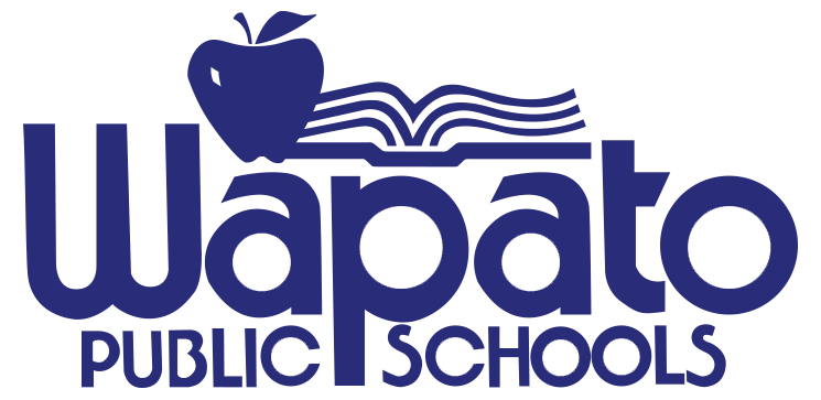 Wapato Public Schools logo with open book and apple