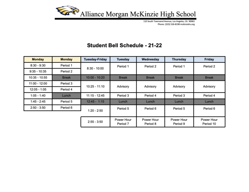 Student Bell Schedule Thumbnail Image