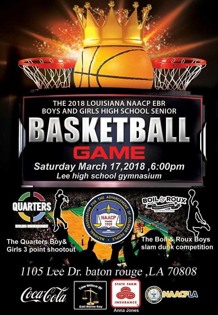 A photo of the poster advertising the 2018 Louisiana NAACP EBR All Star Basketball Game