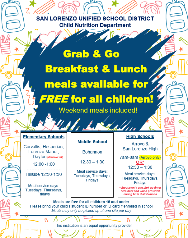 Grab & Go  Breakfast & Lunch meals available for FREE for all children! Featured Photo