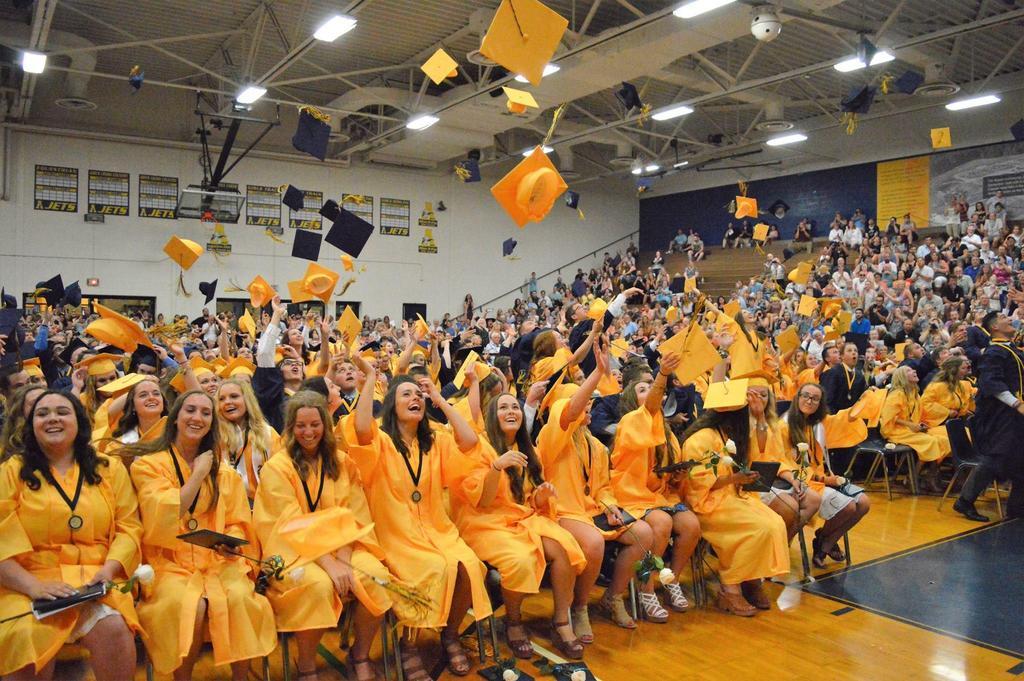 Graduates tossing hats