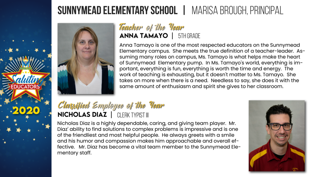 Sunnymead Elementary Employees of the Year
