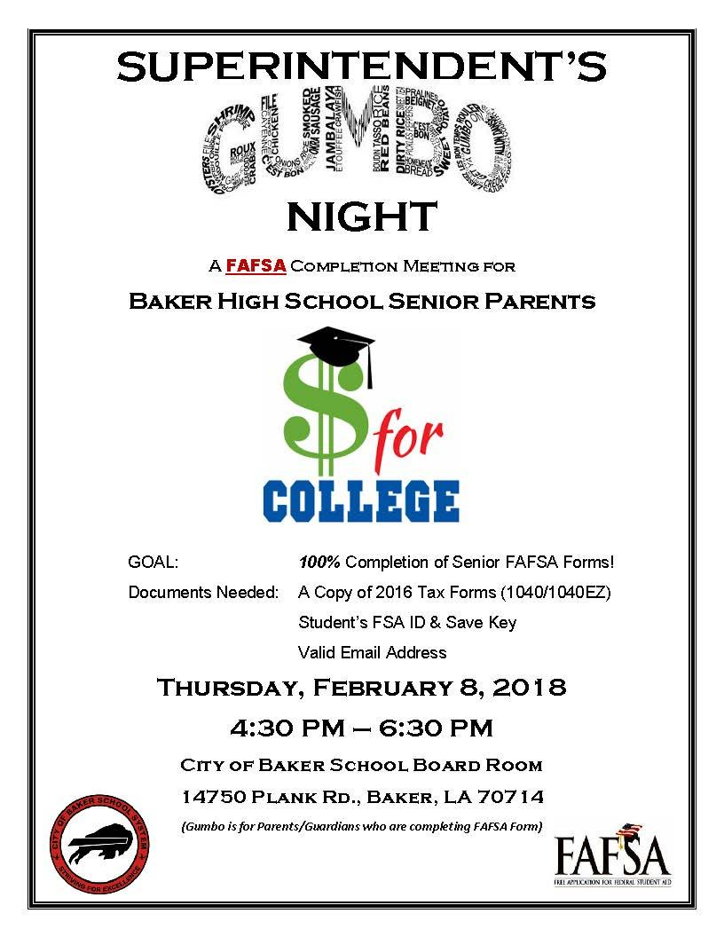 A poster promoting the Superintendent's Gumbo Night for parents to come and sign their children up for college financial aid