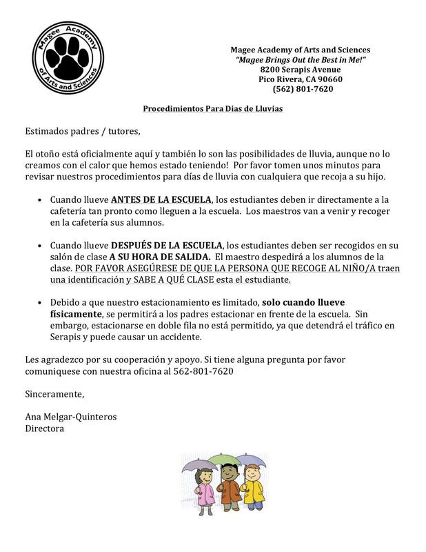 Spanish Flyer for Rainy Day Arrival and Dismissal