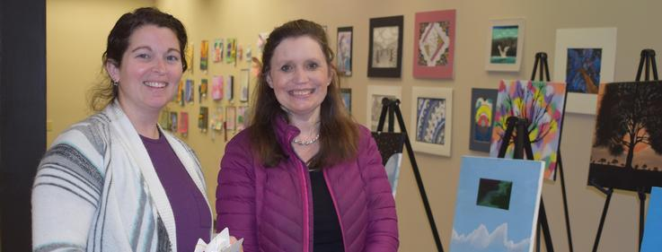 Pike County Art Council Members judge student art.