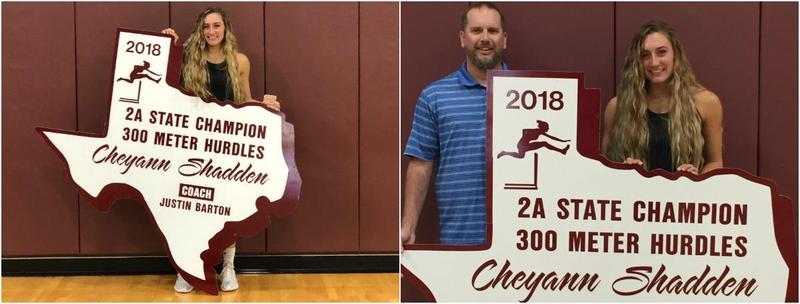Cheyann Shadden holds her State Champion Sign