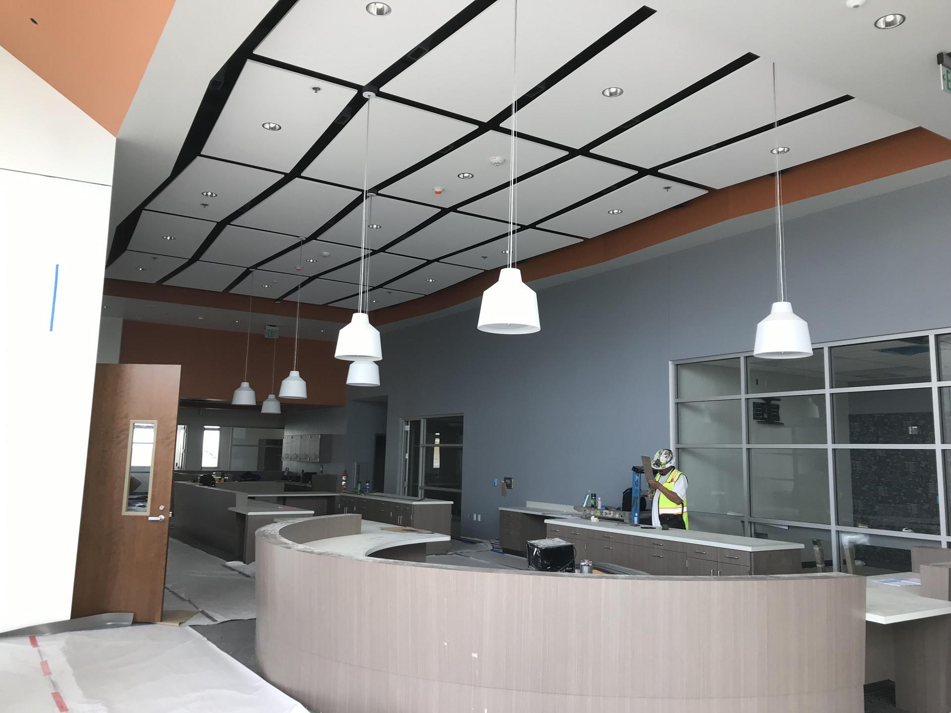 Interior image of Castaic High School office spaces in progress