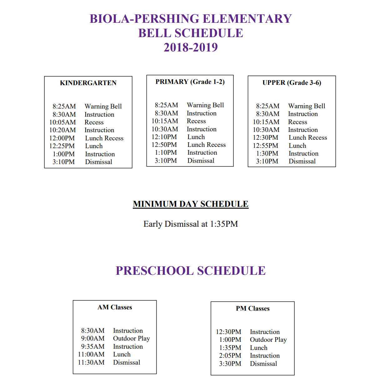 Bell Schedule 2018 - 2019