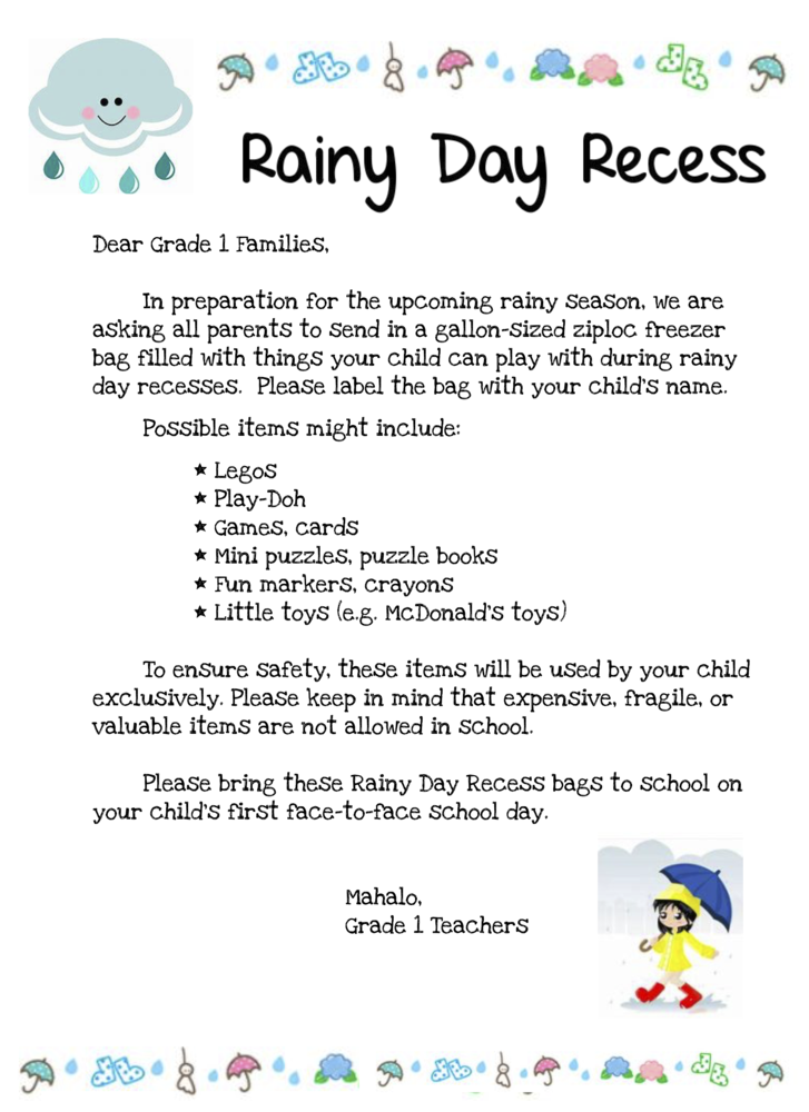 Rainy Day Recess Bag