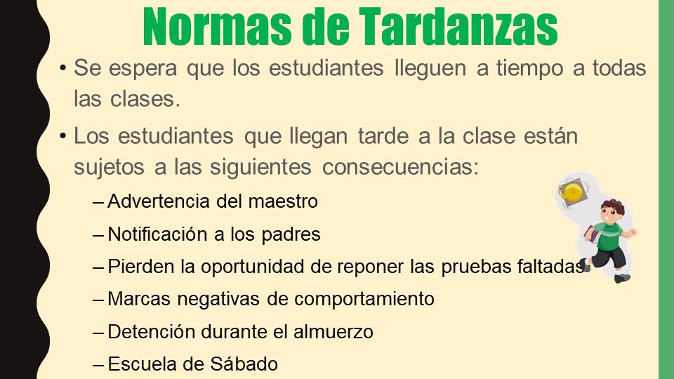 tardy policy power point slide (Spanish)