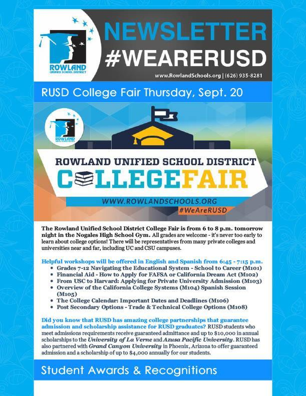 RUSD News 9-19-18 Issue - COLLEGE FAIR! Thumbnail Image