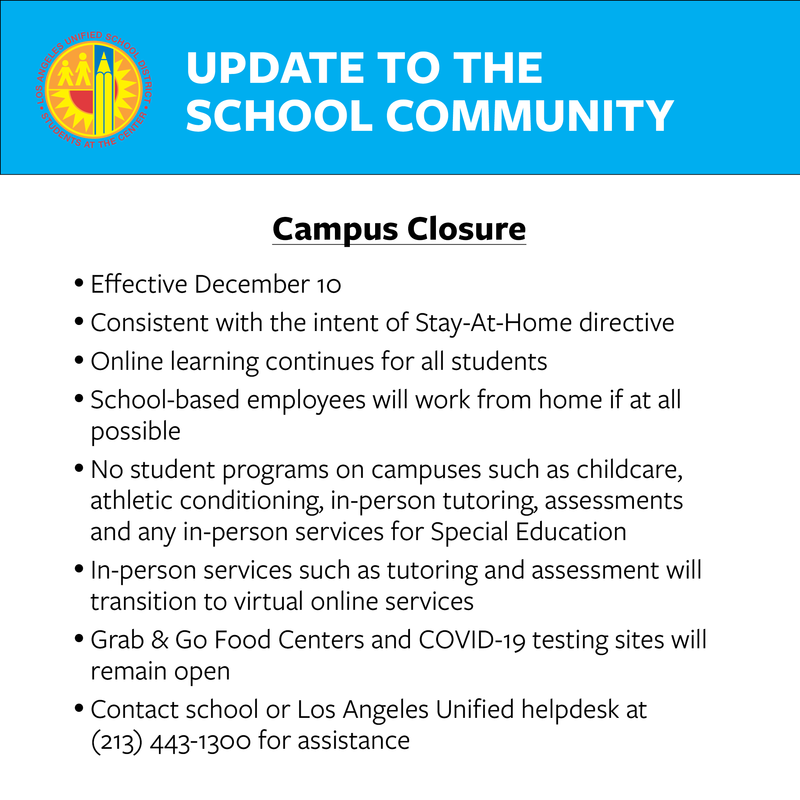 Campus Closure December 10th - January 11th Featured Photo